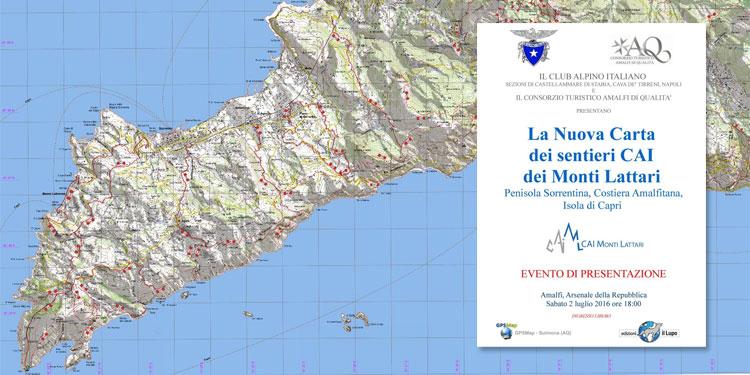 Cartina Costiera Amalfitana E Capri.La Nuova Carta Dei Sentieri Dei Monti Lattari Cai Monti Lattari